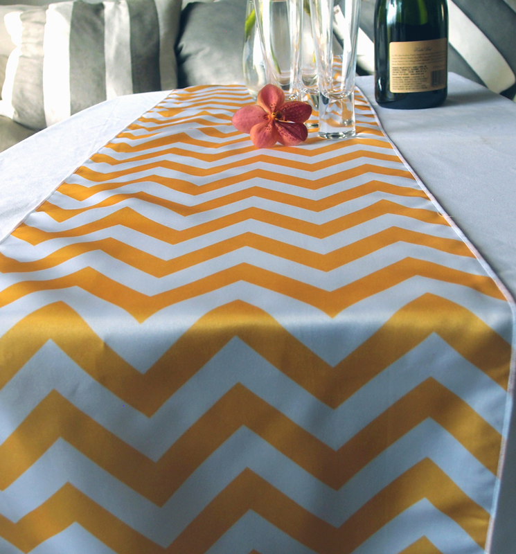 chevron table runner yellow. Black Bedroom Furniture Sets. Home Design Ideas