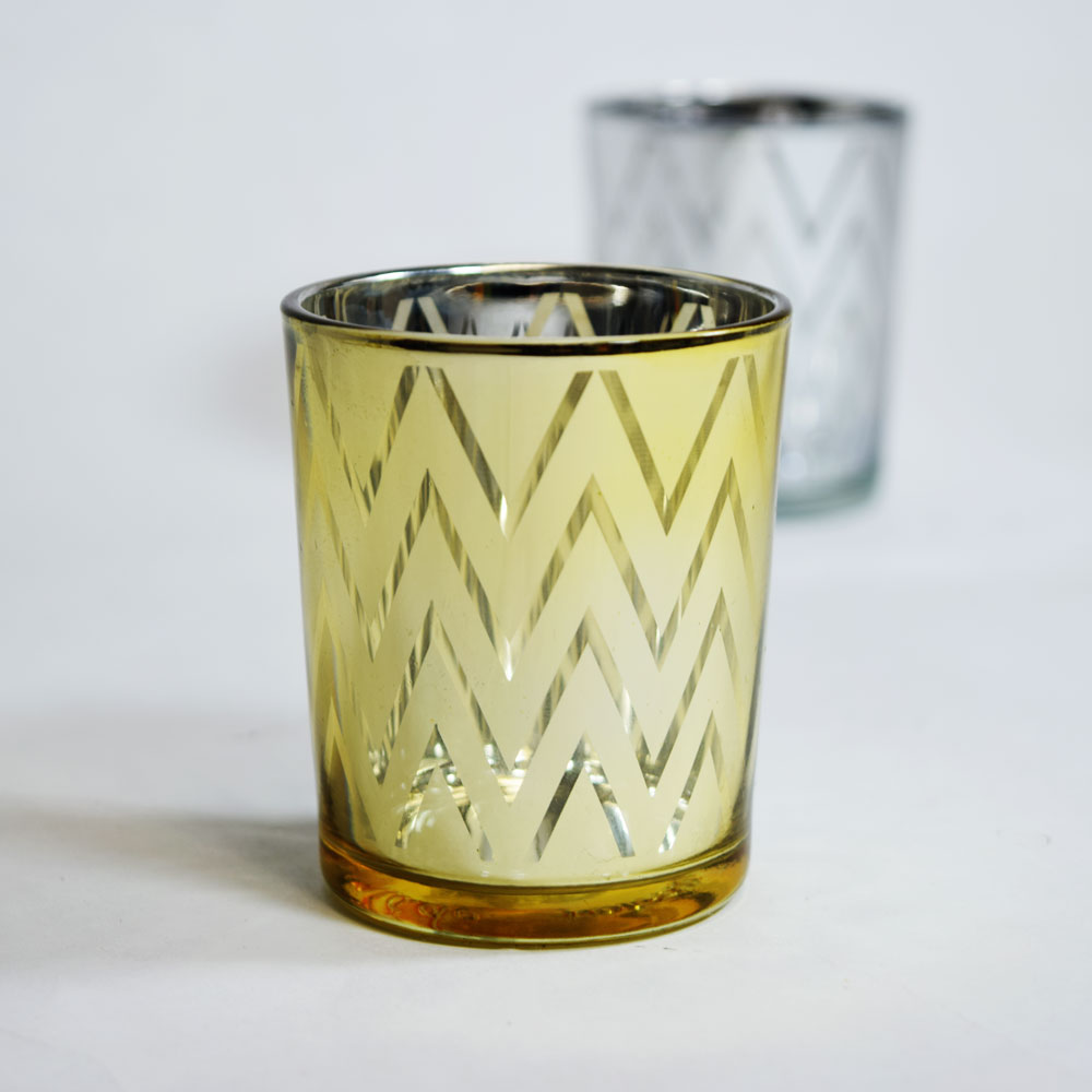 Chevron Votive Tea Light Glass Candle Holder Gold 2 5