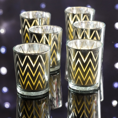 Chevron Votive Tea Light Glass Candle Holder Silver 2 5