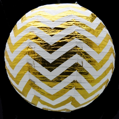 14 Inch Gold Chevron Metallic Foil Paper Lantern Even