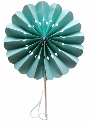 8 Inch Cool Mint Green Pinwheel Paper Folding Hand Fan For