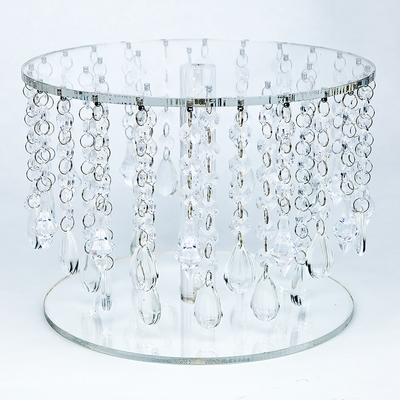 Crystal Acrylic Beaded Round Cake Stand 10 Inch Bejeweled