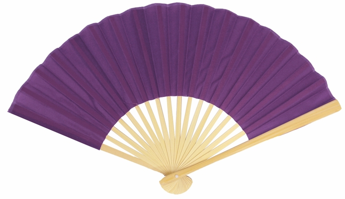9 Quot Dark Purple Silk Hand Fans For Weddings 10 Pack On