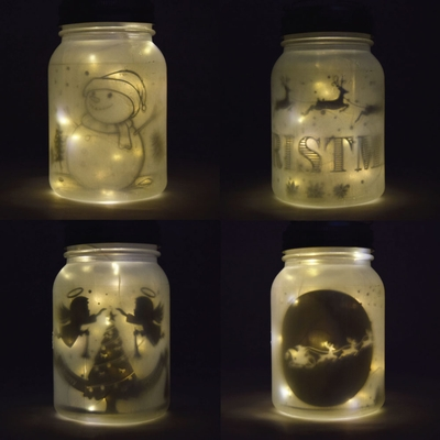 Decorative Christmas Holiday Frosted Warm White Mason Jar