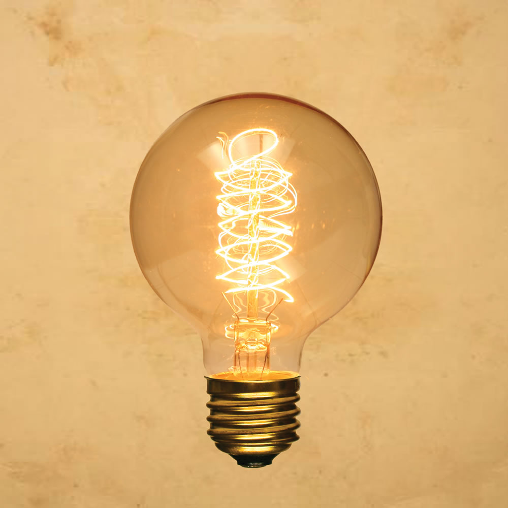 G80 Edison Style Light Bulb Globe Spiral Vintage Antique Incandescent Filament E26 40w