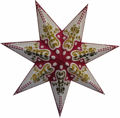 30 Inch Gold And Magenta On White Paper Star Lantern