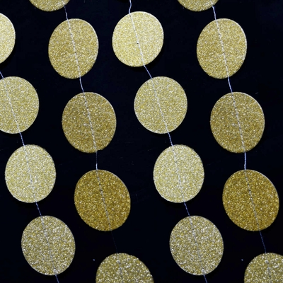 Gold Glitter Round Circle Paper Garland Banner 10ft On