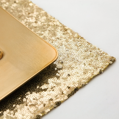Gold Sequin Rectangular Table Placemat 12 X 17 Inches On