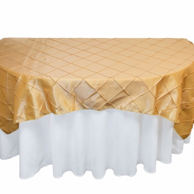 Gold Square Pintuck Chameleon Table Cloth Overlay Cover   72 X 72 Inch On  Sale From PaperLanternStore