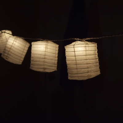 Chinese String Lights Paper Lantern : White Hako Box Shaped Paper Lantern String String Lights (8FT, Expandable) from ...