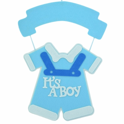 Its A Boy Blue Baby Shower Nursery Hanging Felt Sign Decoration