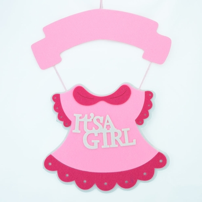 It 39 s a girl pink baby shower nursery hanging felt sign for It s a girl dekoration