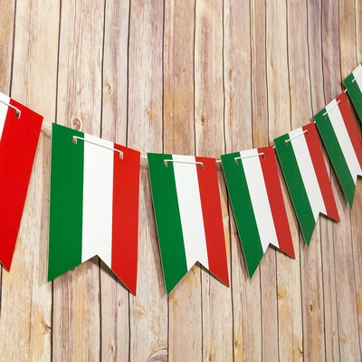 Italian Flag Italy Country Pattern Guidon Pennant Banner