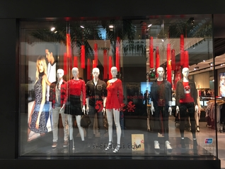 Large Red Tassels Used in Guess Brand Window Displays