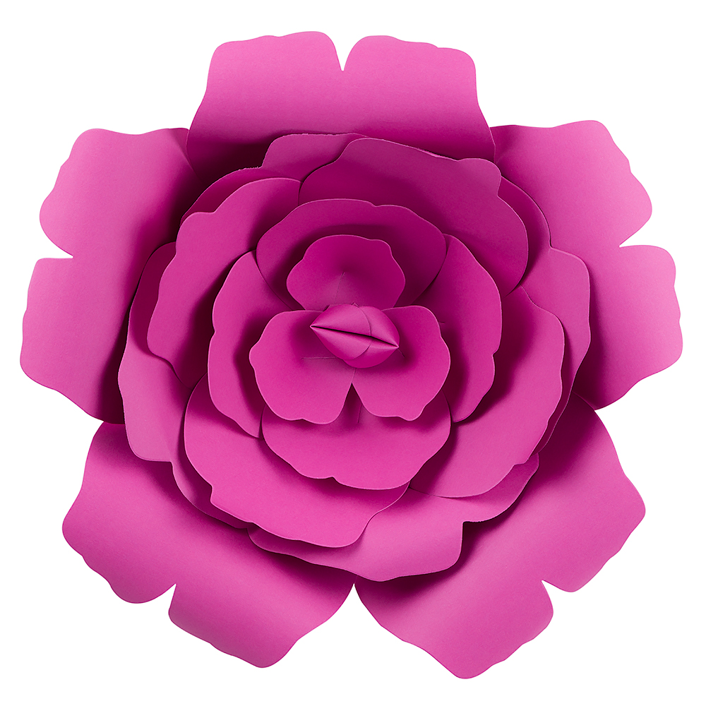 12 Pre Made Fuchsia Hot Pink Rose Paper Flower Wedding Backdrop
