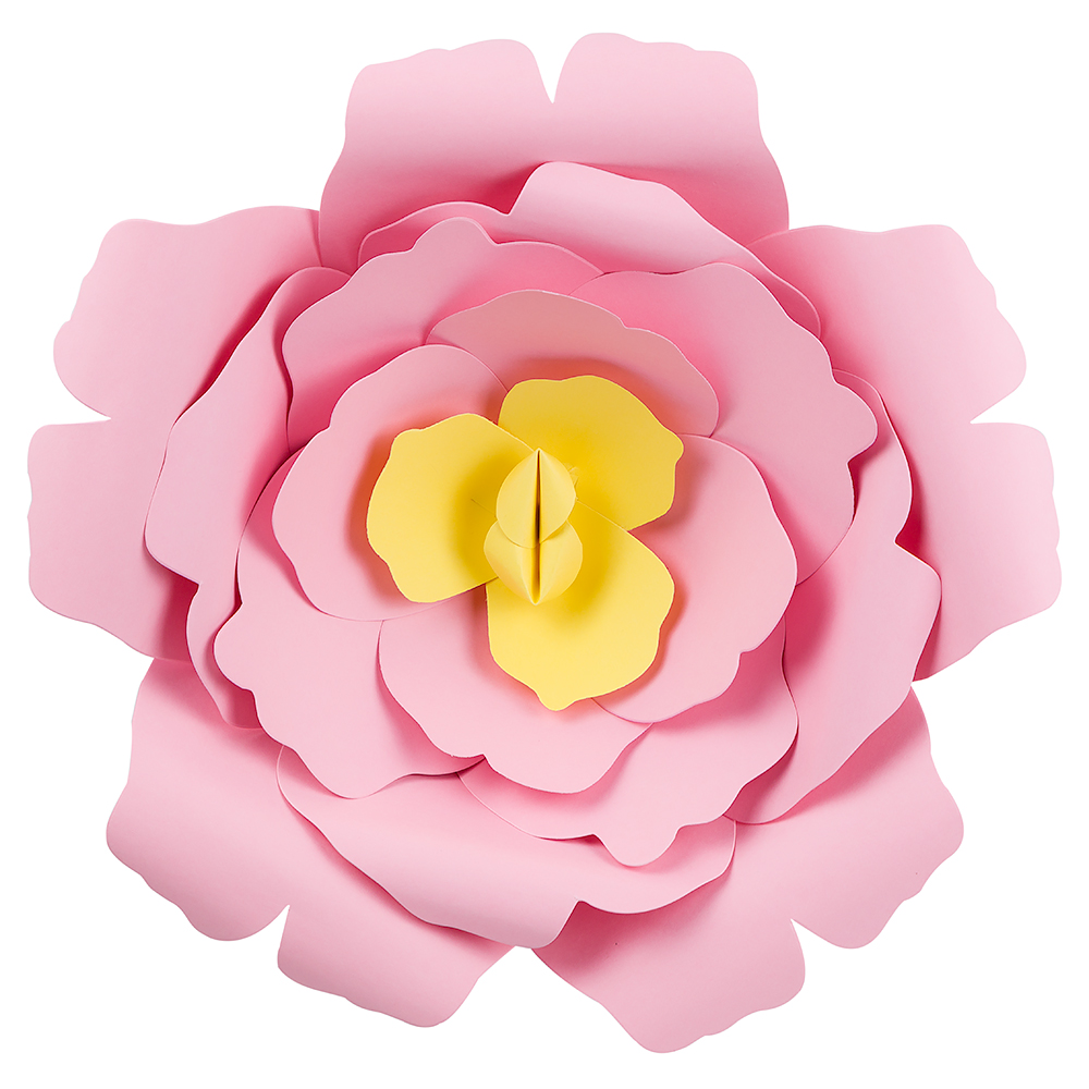 Large 12 Pre Made Pink Rose Paper Flower Wedding Backdrop Wall