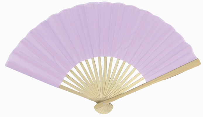 9 Inch Lavender Silk Hand Fans For Weddings 10 Pack On