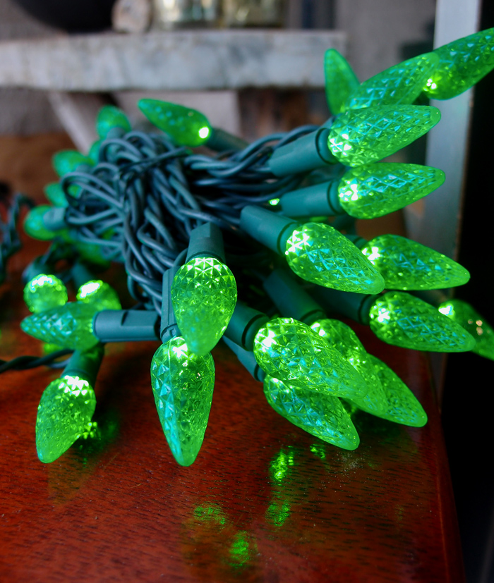 70 Green LED C6 Commercial Outdoor String Lights (24FT, Expandable, Green Cord) on Sale Now ...