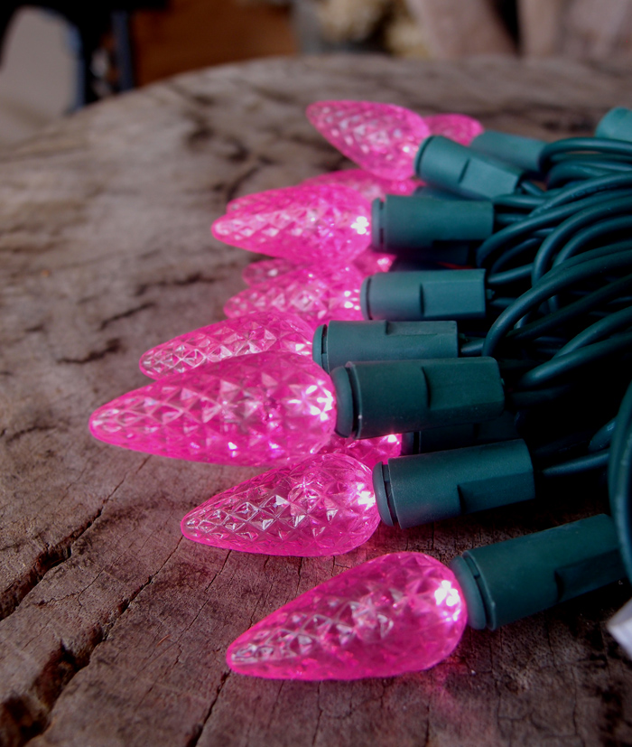 70 Outdoor Pink LED C6 Strawberry String Lights, 24 FT Green Cord eBay