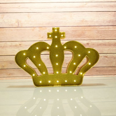 Marquee Light Gold Crown Shape Led Metal Sign Battery