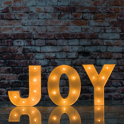 White Marquee Light Joy Led Metal Sign 8 Inch Battery