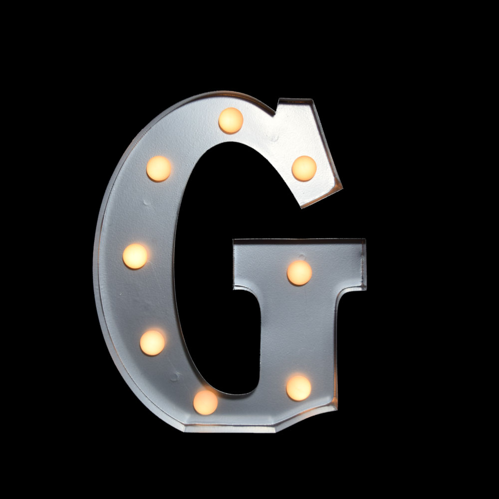 marquee light letter 39 g 39 led metal sign 10 inch battery operated martlocal. Black Bedroom Furniture Sets. Home Design Ideas