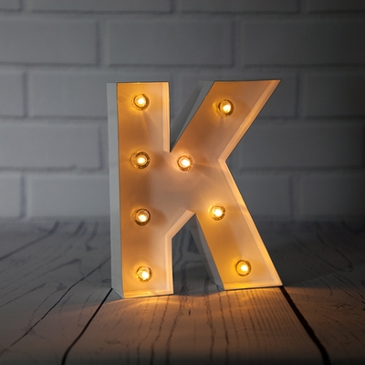 White Marquee Light Letter K Led Metal Sign 8 Inch