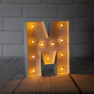 White Marquee Light Letter M Led Metal Sign 8 Inch