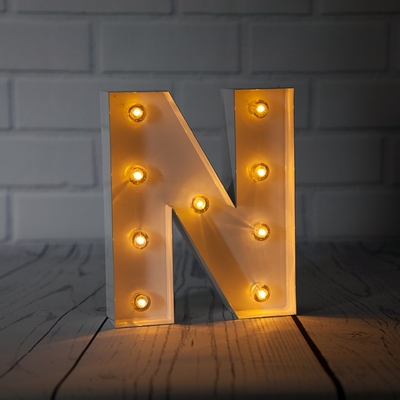 White Marquee Light Letter N Led Metal Sign 8 Inch