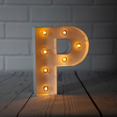 White Marquee Light Letter P Led Metal Sign 8 Inch