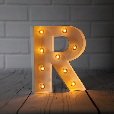 White Marquee Light Letter R Led Metal Sign 8 Inch