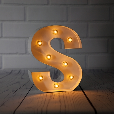 White Marquee Light Letter S Led Metal Sign 8 Inch