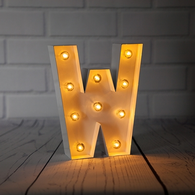 White Marquee Light Letter W Led Metal Sign 8 Inch