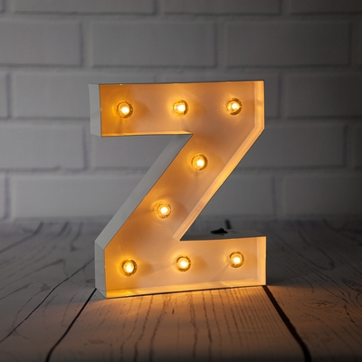 White Marquee Light Letter Z Led Metal Sign 8 Inch