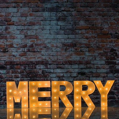 White Marquee Light Merry Led Metal Sign 8 Inch