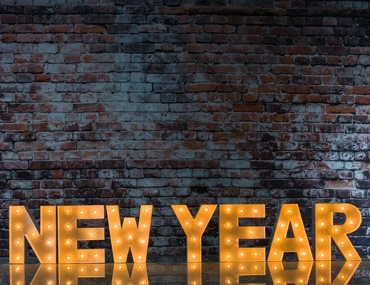 White Marquee Light New Year Led Metal Sign 8 Inch
