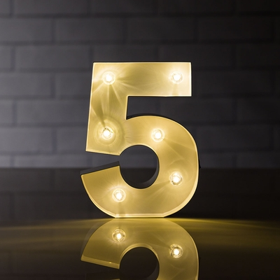 Marquee Light Number 5 Led Metal Sign 8 Inch Battery