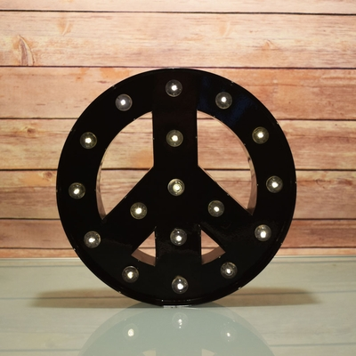 Marquee Light Peace Shape Led Metal Sign Black Battery