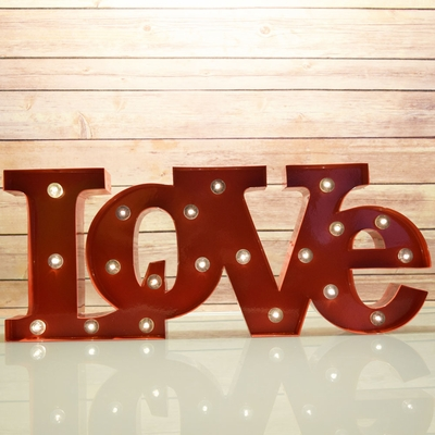Marquee Light Red Love Shape Led Metal Sign Battery