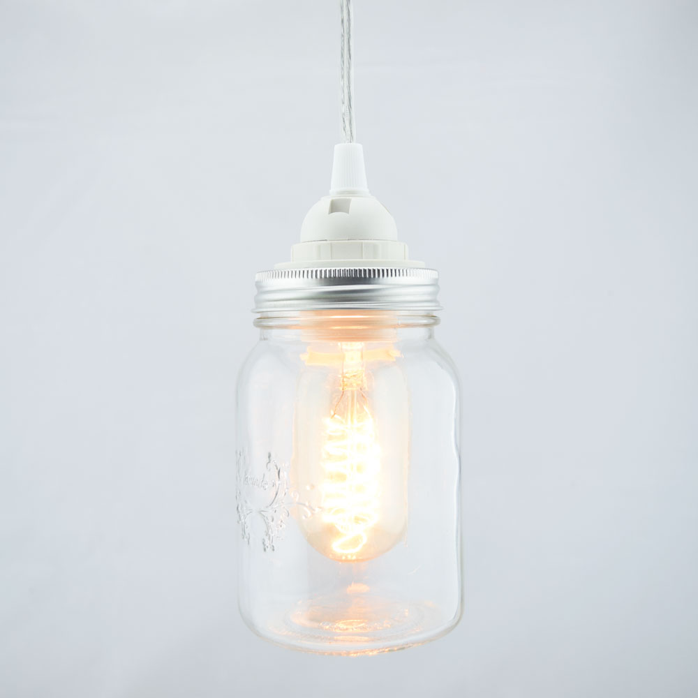 Mason Jar Pendant Light Kit Wide Mouth Clear Cord 15ft