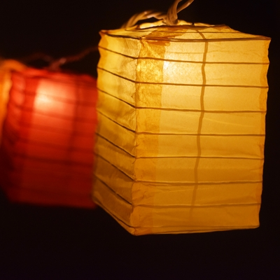 Multi Color Hako Box Shaped Paper Lantern String String
