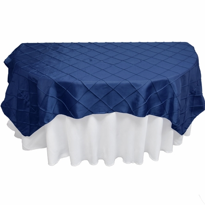 Navy Blue Square Pintuck Chameleon Table Cloth Overlay Cover   72 X 72 Inch  On Sale From PaperLanternStore