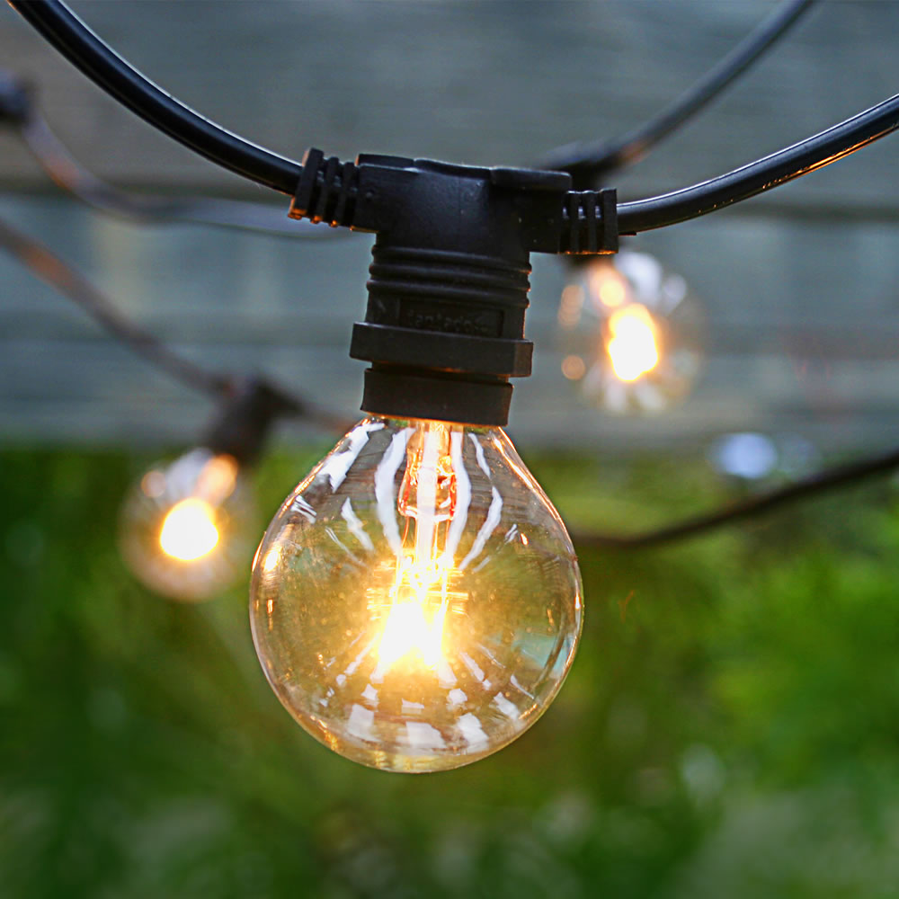 25 Socket Commercial Outdoor String Light Kit w/ G40 Globe Clear Bulbs (29FT, Expandable, Black ...