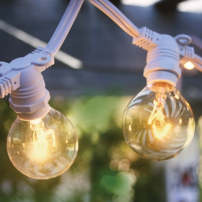 Beautiful 50 Socket Outdoor Commercial String Light Set, G40 Clear Globe Bulbs, 54 FT  White