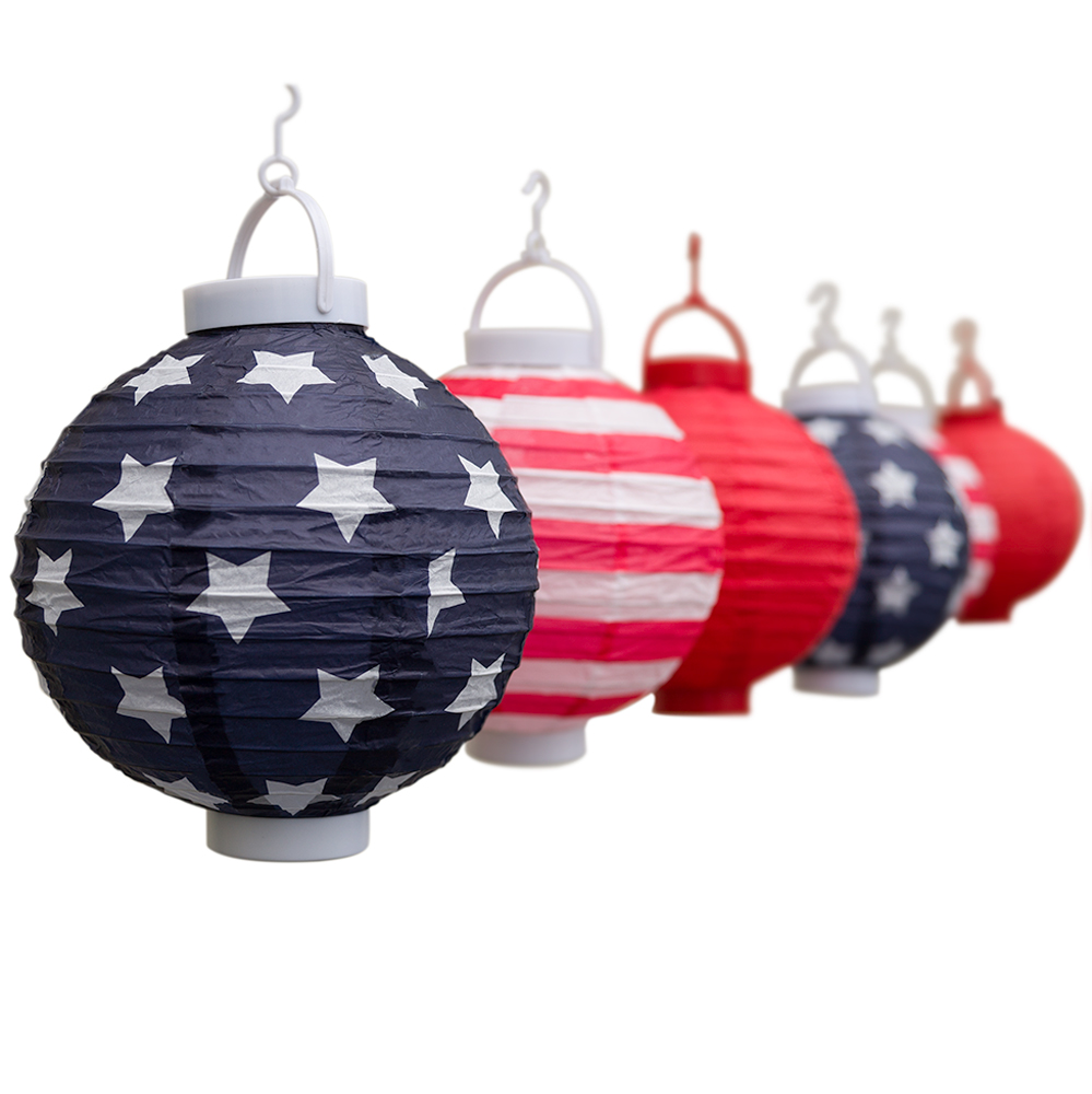 Patriotic String Lights Outdoor : Patriotic 4th of July Stars and Stripes LED Battery Operated Paper Lantern Lights Kit (6-PACK ...