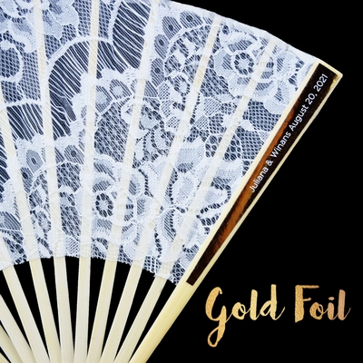 Personalized Gold Foil Label Lace Fabric Hand Fans