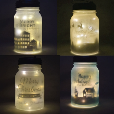 Personalized Christmas Holiday Frosted Mason Jar Lights
