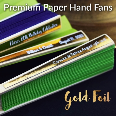 Personalized Premium Paper Folding Hand Fans W Metallic