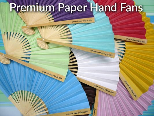 Personalized Premium Paper Hand Fans W Side Handle Print