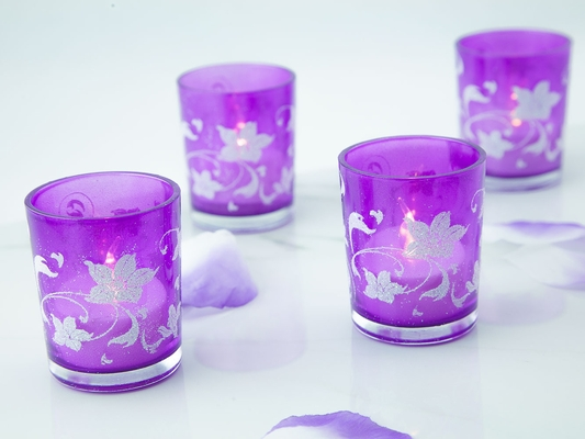 Purple Floral Holiday Votive Tea Light Candle Holders Gift